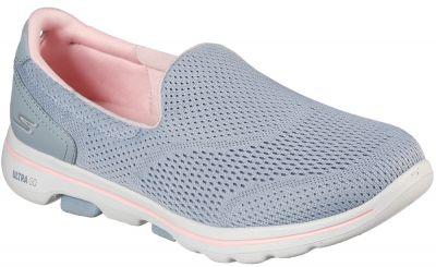Skechers Go Walk 5 - Ocean Sparkle - Grey/Light PInk