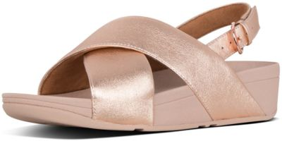 FitFlop Lulu Cross Back-Strap Sandal Leather -  Rose Gold